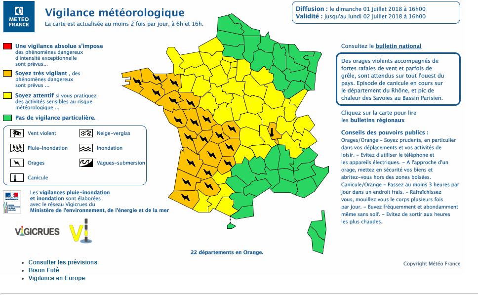 Le 1.07.2018:ORAGES SUR LE NORD OUEST ET SUD OUEST DE LA FRANCE A 22H15
