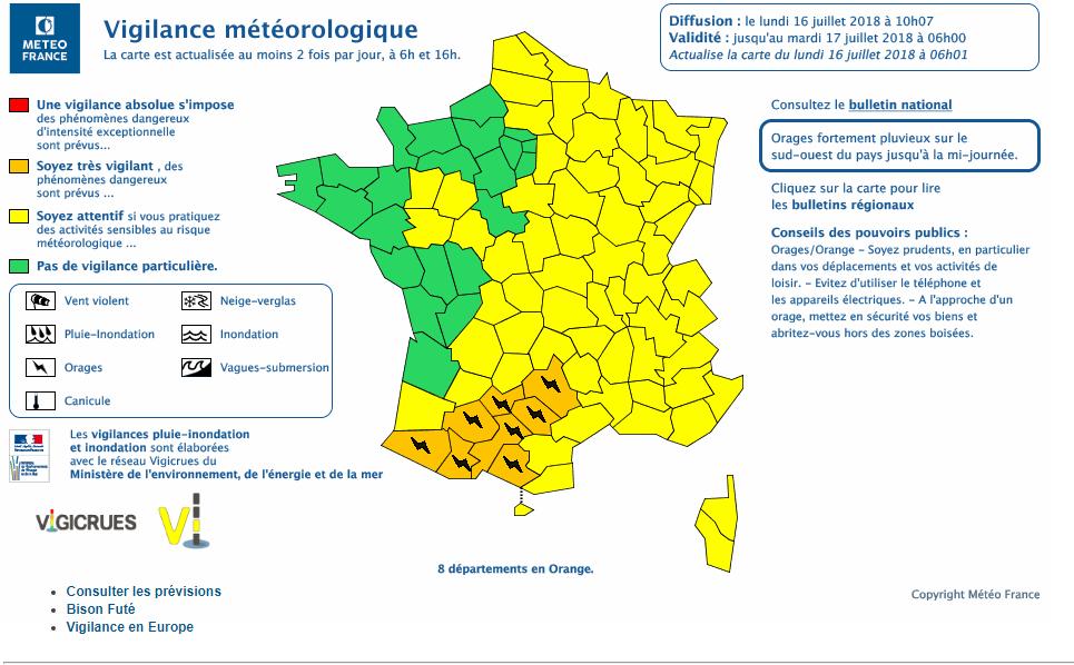 Le 16.07.2018 a 10h27: Violent orages sur le Sud de la France actuellement en cours. 8 départements en alerte orange pour risque d orages violent.