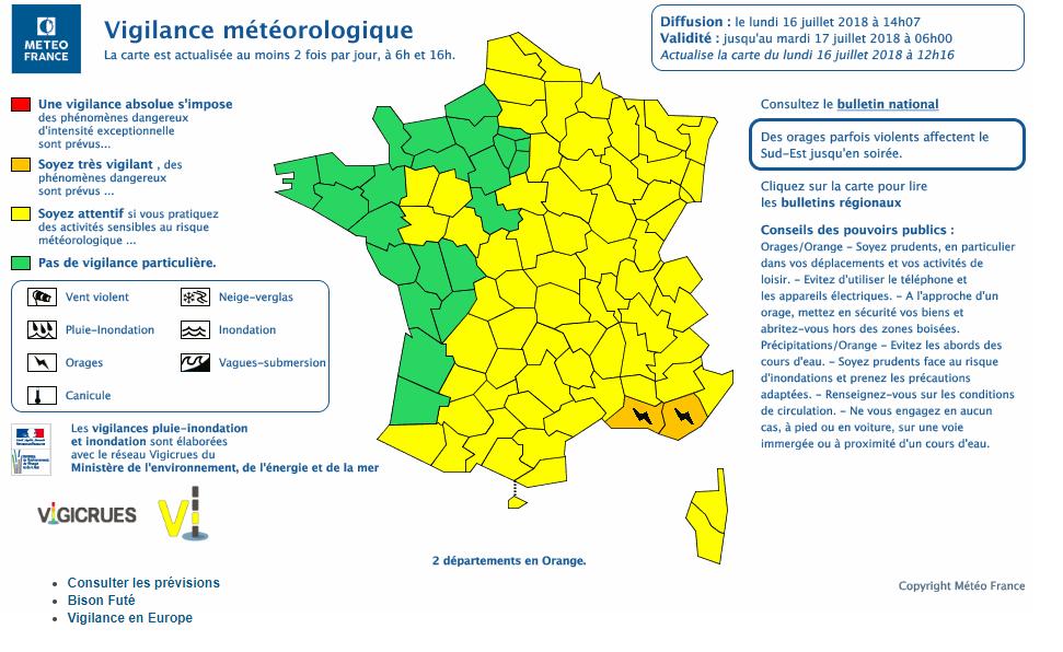 Le 16.07.2018 a 14h45: Violent orages sur le Sud de la France actuellement en cours. 2 départements en alerte orange pour risque d orages violent.