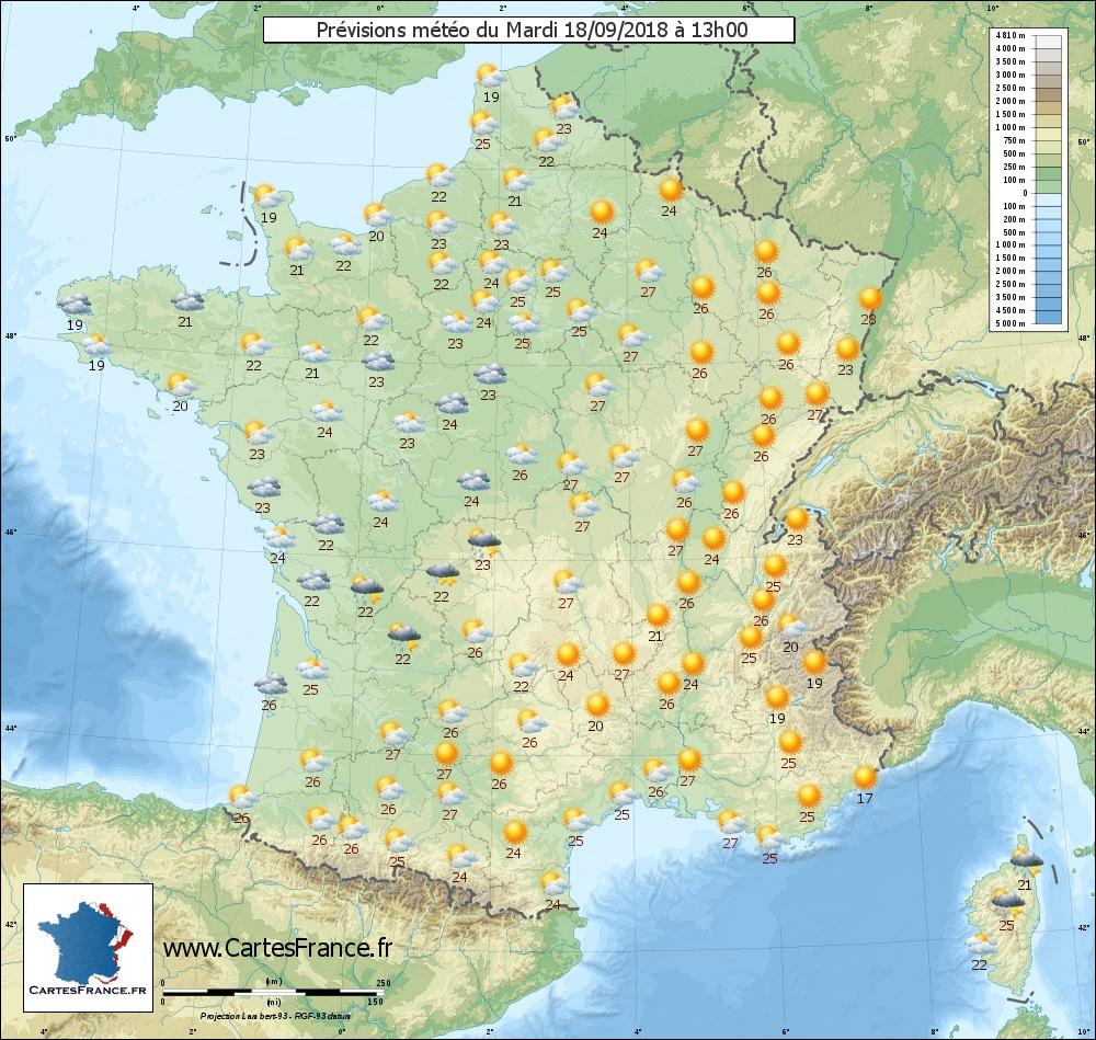 Le 18.09.2018:Météo en France du mardi 18 septembre : nuages au Nord, orages du Centre au Nord-Est