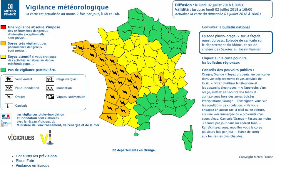 Le 2.07.2018:ORAGES SUR LE NORD OUEST,SUD OUEST ET DU CENTRE DE LA FRANCE A 23H35