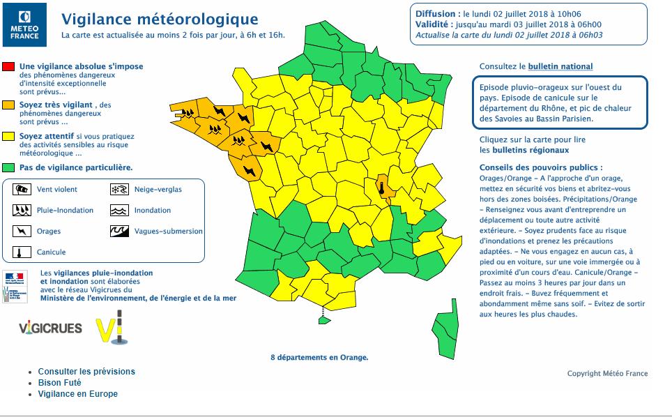 Le 2.07.2018:8 départements encore en alerte orange orages,inondations et canicules