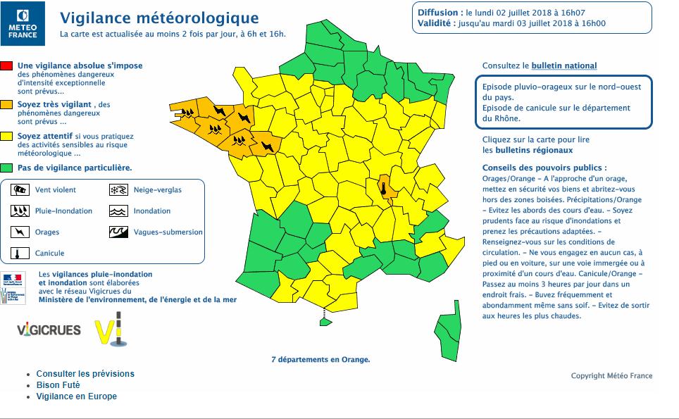 Le 2.07.2018:7 départements encore en alerte orange orages,inondations et canicules