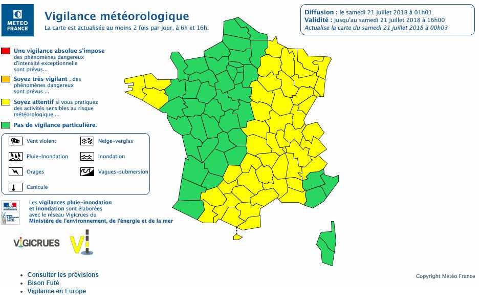 Le 21.07.2018:ORAGES  Vigilance météorologique,fin de vigilances a 1H01