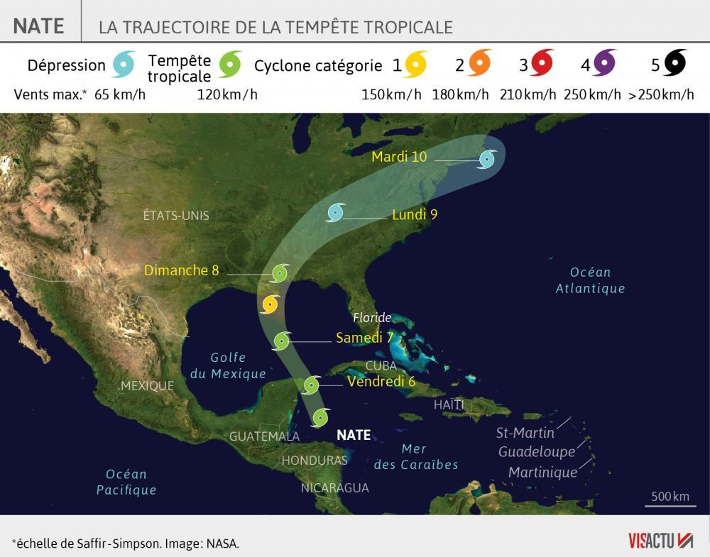 Nate la tempete tropicale devrait se transformer en ouragan samedi