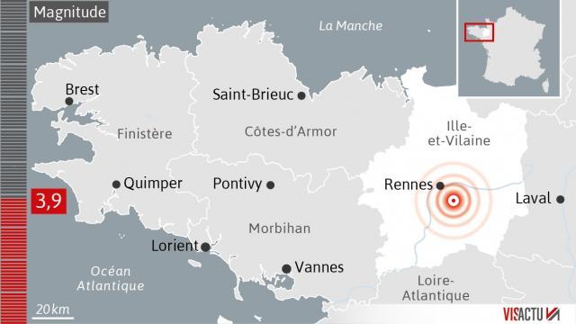 Le 28.09.2017 Seisme de magnitude 3 9 la terre tremble cette nuit au sud de rennes